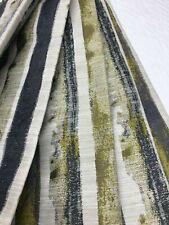Belfield Lyon Olive Grey vertical stripe curtain Fabric Material 141cm wide