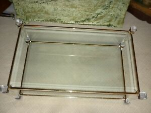 Vintage 1970s Glass Coffee Table Lucite Legs Gold coloured Hollywood Regency
