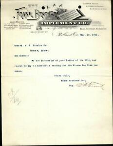 1891 Portland Oregon (OR) Letter Frank Brothers Implement Co. G.P. Frank A.S. Fr