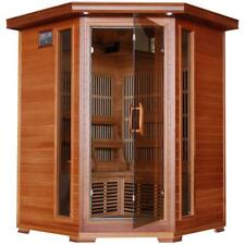Hudson Bay 3-Person Cedar Corner Infrared Sauna w/ 7 Carbon Heaters - SA1312