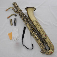 Professional Antique Baritone saxophone High F# Low A key sax with case