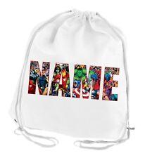Marvel Kids Personalised Bag, Swimming, School, Cotton, PE School Drawing String