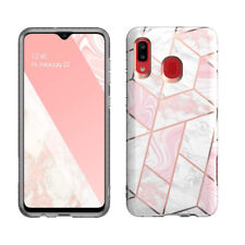Galaxy A20 Case,Slim Fit Clear Bumper Soft TPU Protective Cover Marble Pink