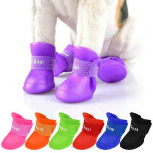 4PC/Set Waterproof Pet Small Dogs Rain Shoes Boots Rubber Puppy Summer Booties
