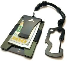 EDC Slim Tactical Wallet Ridge Money Clip Credit Card Holder w/Lanyard Carabiner