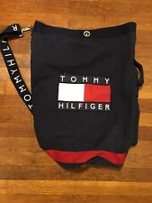 VINTAGE Tommy Hilfiger Draw String Backpack Nap Sack Book Bag Big Flag Spell Out
