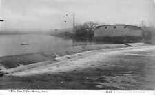 Des Moines Iowa~DM River Dam~Building~Fence Structures~Smokestack~CU Williams