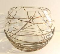 Vintage Cloisonné Style Gold Wraparound Glass Bowl, Vase Or Votive Candle Holder