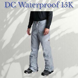 🎿 DC Relay Pants (Denim Color) Snowboard 15K Waterproof Men's XS Ex. Small $169