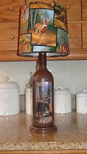 Folk Art/By the Artist Lamp/Deer Shade/Rustic/Country/Cabin Decor
