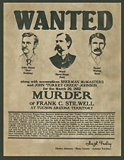 """Wyatt Earp, Doc Holiday, Wanted poster, Sheriff, 14""""x11"""" - Western outlaw"""