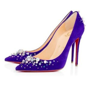 Christian Louboutin Candidate 120 Purple Pop Pearl Suede Embellished Pump 37