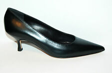 WOMAN - 41eu - POINTED PUMP - BLACK CALF - HEEL 5,5cm - LEATHER SOLE