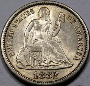 1882 Seated Liberty Dime Gem BU+ So FLASHY & ORIGINAL!! Very Nice Coin!!!