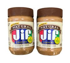 Jif Natural Cruncy Peanut Butter 16-oz LOW SODIUM (2 Pack) New