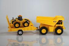 """CAT Construction 7"""" Dump Truck, Wheel Loader, Trailer Yellow"""