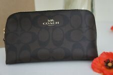 NWT COACH F53385 Cosmetic Case Make Up Canvas Logo Travel Pouch Brown Black $78
