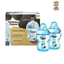 Tommee Tippee Blue Deco Bottles, 9 oz (260 ml), 2 pack