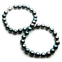 Pacific Pearls® 10-12mm Tahitian Black Pearl White Gold Necklace Christmas Gifts
