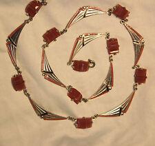 Art Deco Carnelian Vauxhall Czech Glass Enamel Silver Wreath Necklace