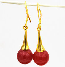 Beautiful Natural  res ruby Gemstone 925 Silver Gold-plated/Dangle Earrings