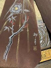 1940'S 40's Hand Painted Japanese Signed Vintage Necktie Tie Free Shipping