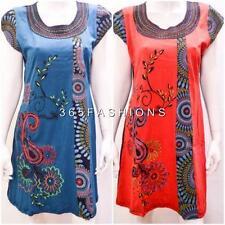 FUNKY BOHO PATCHWORK PSYCHEDELIC FLORAL STITCH TUNIC DRESS SIZE 12 14