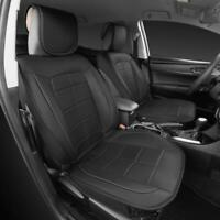 Motor Trend Cushion Car Seat Covers PU Leather Gray Charcoal Piping on Black