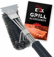 """BBQ Grill Brush & Scraper for BBQ Grill, Safe 17"""" Stainless Steel Woven Wire"""