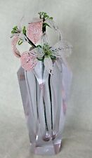 """Vintage handmade French Beaded Flower Iridescent 10"""" pink tropical lily, triple"""