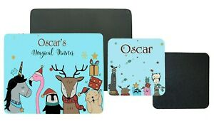 Personalised Children's Table Placemat & Coaster,Blue Magical Christmas Gift set