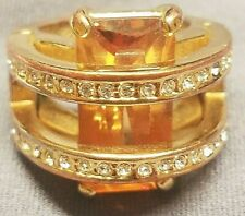 VINTAGE VICTORIAN AMBER CLEAR CRYSTAL RING SIZE 7.5 ~SIGNED: CAMILLE LUCIE