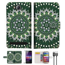 Green AZTEC TRIBAL Wallet TPU Case Cover For HUAWEI Y3 II 2 -- A002