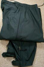 LL BEAN OUTDOORS-Black Nylon Shell, Mens Side Zip, Packable Wind/Rain Pants-(XL)
