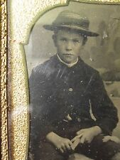 ANTIQUE AMERICAN FOLK ART WHITTLING WOOD BOY STRAW HAT PENSIVE BROTHER PHOTO