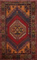 Antique Geometric Anatolian Turkish Oriental Area Rug Wool Handmade Tribal 4'x6'