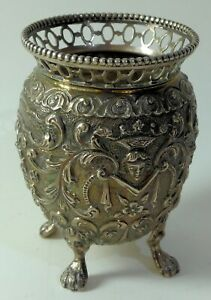Antique pierced Dutch silver vase .835 circa 1900 - high quality decoration 72mm