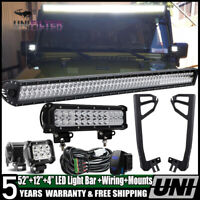 52inch 700W LED Light Bar +12'' 4''+Mount Bracket Fit For Jeep Wrangler JK 07~17