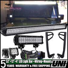52inch 700W LED Light Bar +12'' 4''+Mount Bracket Fit For Jeep Wrangler JK 07~17