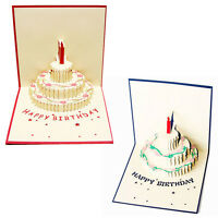 Pop Up Greeting Card Handmade Happy Birthday Cake Day Thank You 3D Postcard