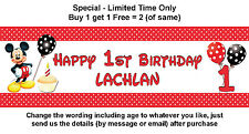 Birthday Party Banner Poster for Baby 1st Any Age Personalised Mickey Mouse Red