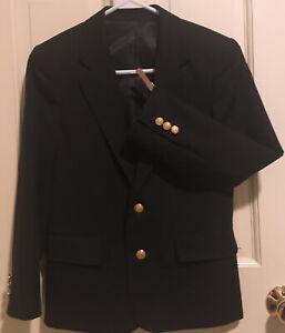 Rugged Bear Navy Blue Boy's Blazer 100% Wool Lined Year Round Brass Btns Size 12