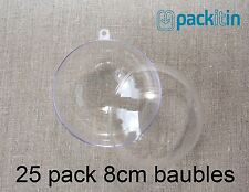 8cm (x25 qty) Clear Acrylic Two Piece ROUND Baubles Balls christmas ornaments