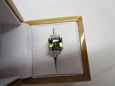 STUNNING ESTATE 14 KT GOLD 6.39 CTW VIVID GREEN TOURMALINE & DIAMOND RING !!!!