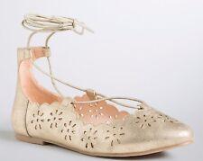 Torrid Cutout Lace Up Flats Gold Metallic Shoes Size 12 Wide Width #8270
