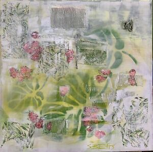 SUE BETTS Abstract landscape painting 90cmx90cm 'Monstera Delight'