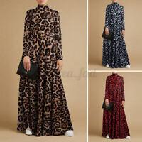 UK Women High Neck Leopard Print Casual Loose Flare Swing Kaftan Long Maxi Dress