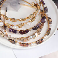 Woman Conch Pearl Stone Hair Hoop Clasp Hair Band Headband Hairband Jewelry Gift