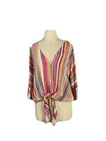 Iris Maxi Women's Rayon Button Up Waist Tie Shirt With bell Sleeves Size 10