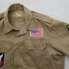 RARE Military S/S Casual Shirt Scout Tan USA Patches Rockabilly Medium VTG